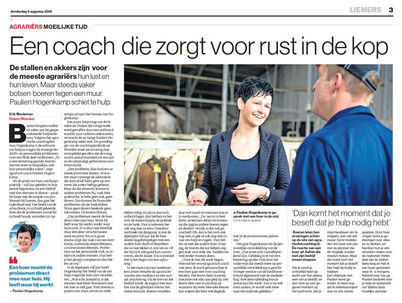 De Gelderlander - Interview Paulien Hogenkamp - Agrarische Coach zorgt voor rust in de kop