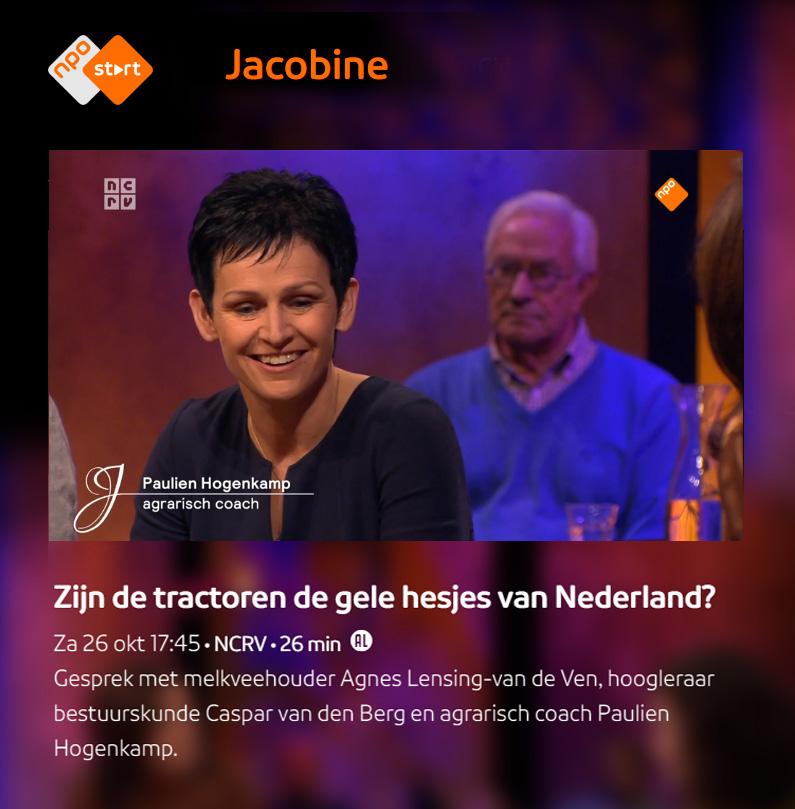 NPO Jacobine: interview met agricoach en melkveehouder over de ontwikkelingen in de agrarische sector