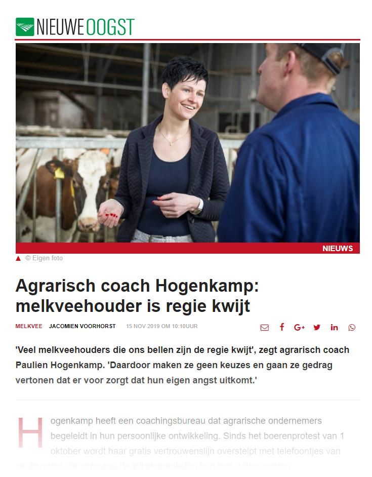 Persoonlijk welzijn agrariers toegelicht door agricoach Paulien Hogenkamp in Nieuwe Oogst