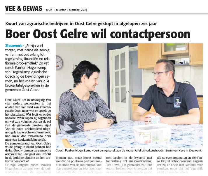 Artikel Vee & Gewas - Hogenkamp Agrarische Coaching voert met 214 agrarische gezinnen in Oost Gelre een keukentafelgesprek