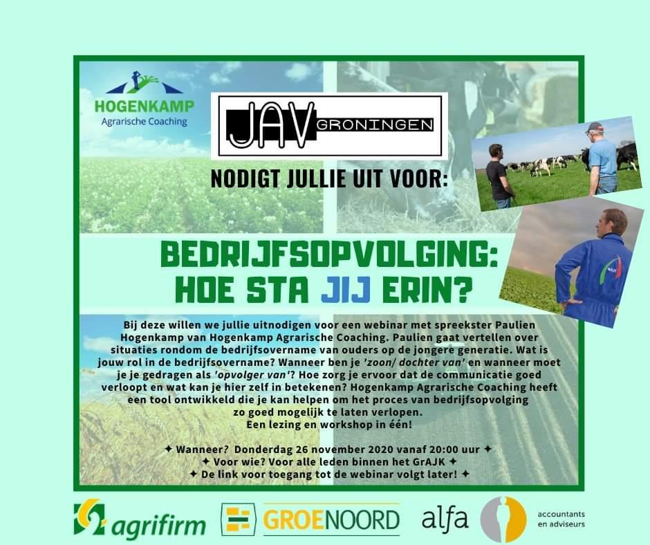 Webinar Bedrijfsopvolging met agricoach van Hogenkamp Agrarische Coaching - Uitnodiging van JAV Groningen