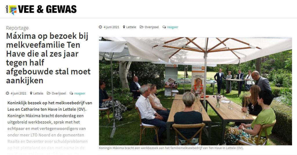 Artikel in Vee en Gewas: koningin Maxima in gesprek met LTO Noord en de gemeenten Raalte en Deventer over schuldproblemen op het platteland
