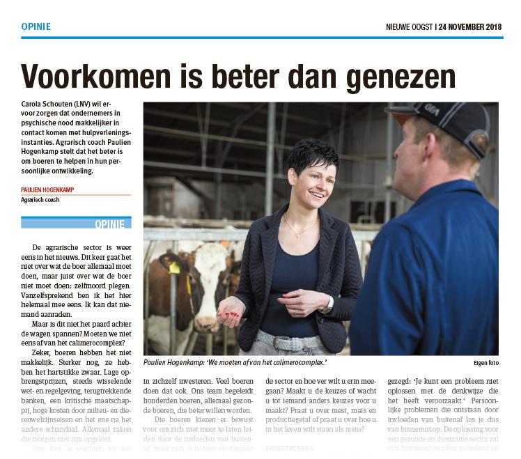 Opiniestuk Agrarisch Coach Paulien Hogenkamp - Nieuwe Oogst (November 2018)