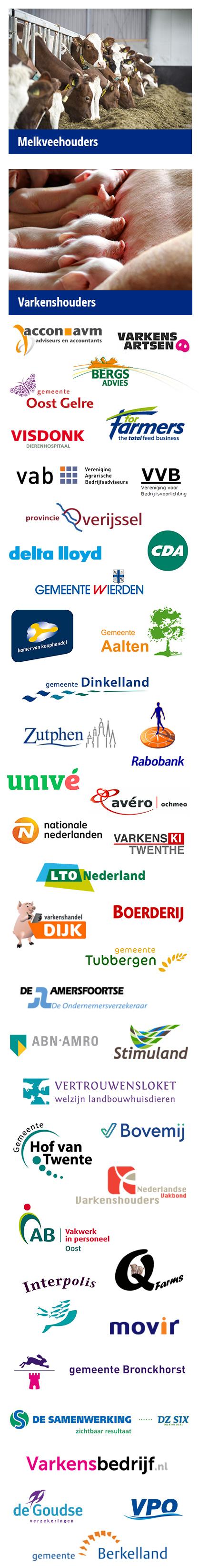 Opdrachtgevers (o.a. boeren, agrariers, ondernemers, banken, verzekeraars, gemeenten en agrarische bedrijven uit heel Nederland) van Hogenkamp Agrarische Coaching