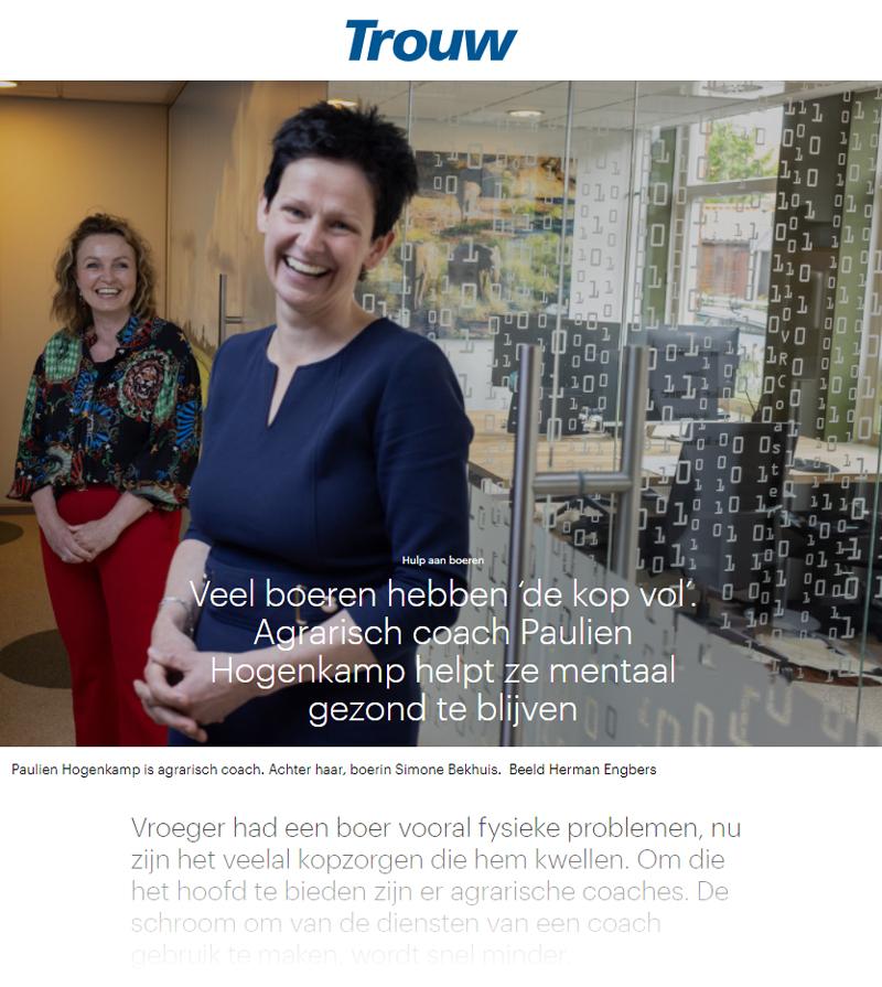 Artikel in Trouw, Hulp aan boeren: agrarisch coach Paulien Hogenkamp helpt boeren mentaal gezonde te blijven
